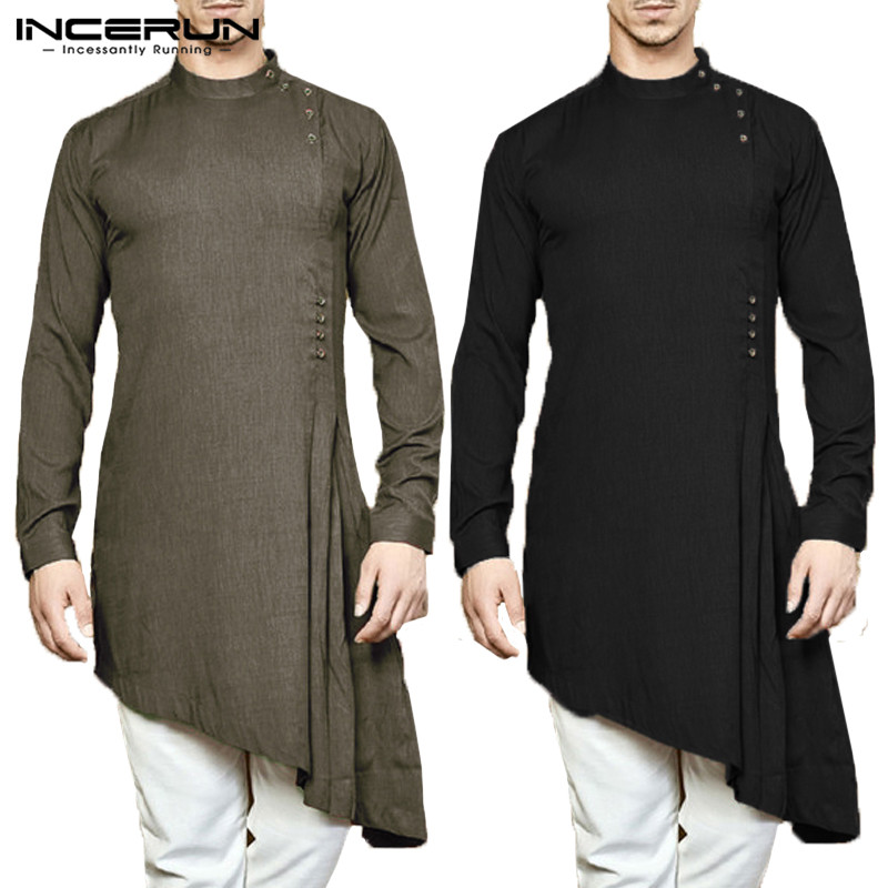 INCERUN Men Shirt Indian Kurta Suit Cotton Long Sleeve Solid Color Asymmetrical Hem Men Long Shirt Islamic Muslim Arab Kaftan
