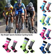 High Quality Sweat Absorption Sports Outdoor Cycling Socks Left And Right Feet Wave Point Striped Bikes Socks For Men And Women недорого