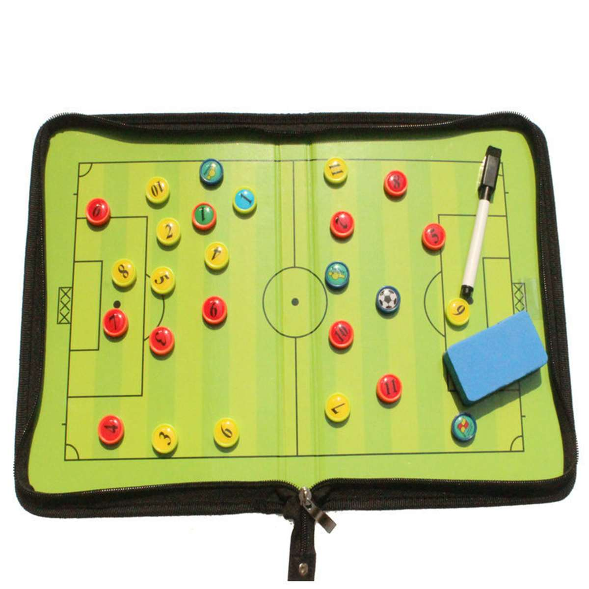Foldable Coaching Board Football Tactic Board Magnetic Soccer Coaching Tactical Plate Book Set with Pen Clipboard Sport Supplies
