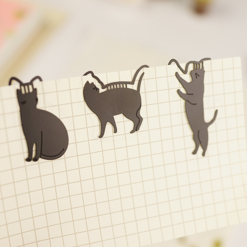 1Piece Cute Cat Metal Bookmarks Kawaii Black Book Markers Creative Paperclip For Books Kids Girls Gift Japan Stationery Supplies