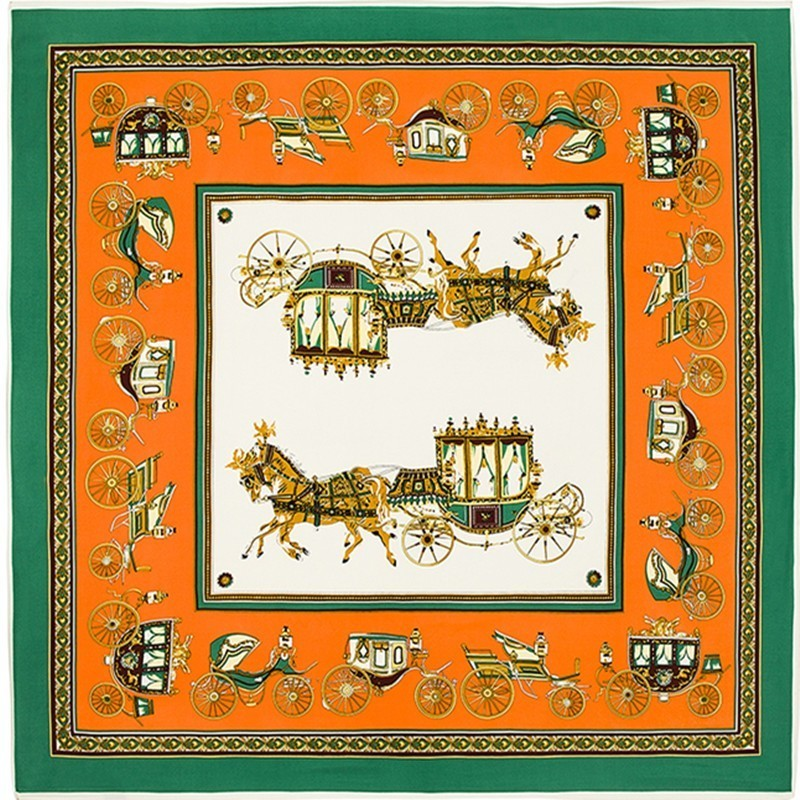 Luxury Brand Silk Scarf Shawl Green Bandana Square Scarves Carriage Print Hijab Horse Neckerchief Ladies Wrap Foulard 130X130CM