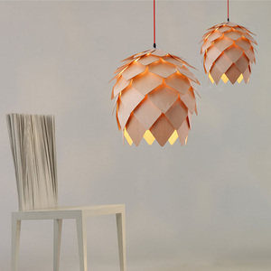 Image 3 - Retro Nordic Pinecone Led Pendant Lamps Modern Wooden modern DIY IQ Elements Puzzle Bedroom Art Wood Lamparas Light Fixtures