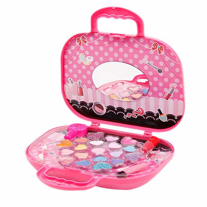 Children's Cosmetics Makeup Box Princess Set Safe Non-toxic Lipstick Nail Polish Girl Toy For Girl's Birthday Gift
