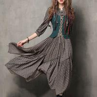 MISSKY Women Summer Dress Floral Printing Retro Button Embroidered Half Sleeve Slim Dress Female Clothes