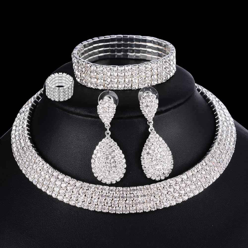 Wedding Jewelry Silver Rhinestone African Earrings Bracelet Ring Set Bridesmaid Jewelry Sets for Women Layered Choker Necklace
