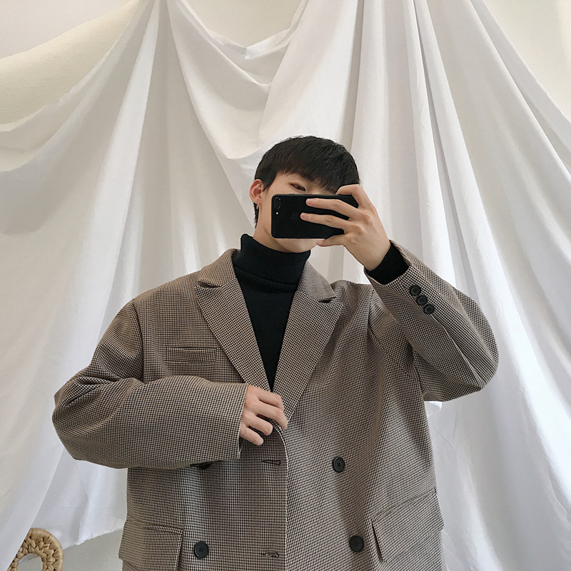 2019 Spring Men's Casual Blazers Suit Jackets Clothes Single Western Loose Coat Fitted Cotton Lattice Printing Outerwear S-XL 4