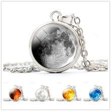 Full Moon Necklace Handmade Galaxy Planet Pendant Jewelry Silver Chain Glass Dome Lunar Eclipse Necklaces Women Gifts Birthday(China)