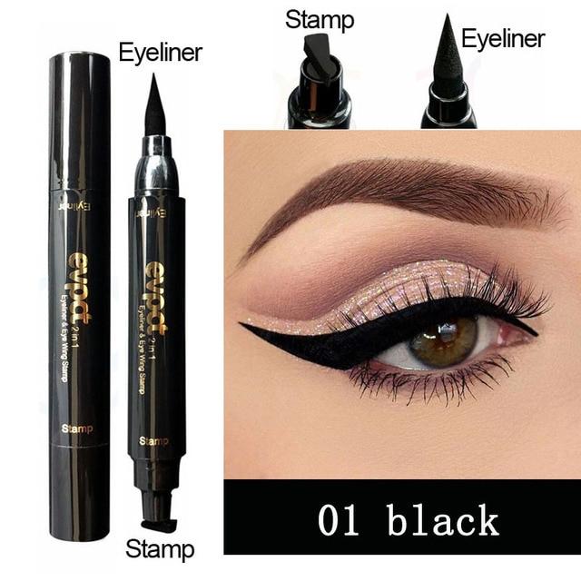 Evpct Double-Head Liquid Eyeliner with Stamp Eye Pencil Waterproof Seal Makeup Eye Liner Blue Black Brown maquiagem TSLM1 4