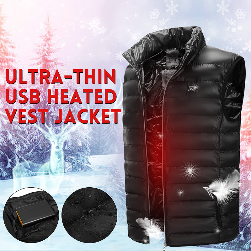 2018 New Men Women Electric Heated Vest Heating Waistcoat Thermal Warm Clothing Feather Hot Sale Winter Jacket Safety Clothing