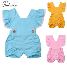 2018 Brand New Newborn Infant Kid Baby Girls Summer Romper Ruffled Sleeveless Lace Solid Button Jumpsuits Playsuit Clothes 0-5Y(China)
