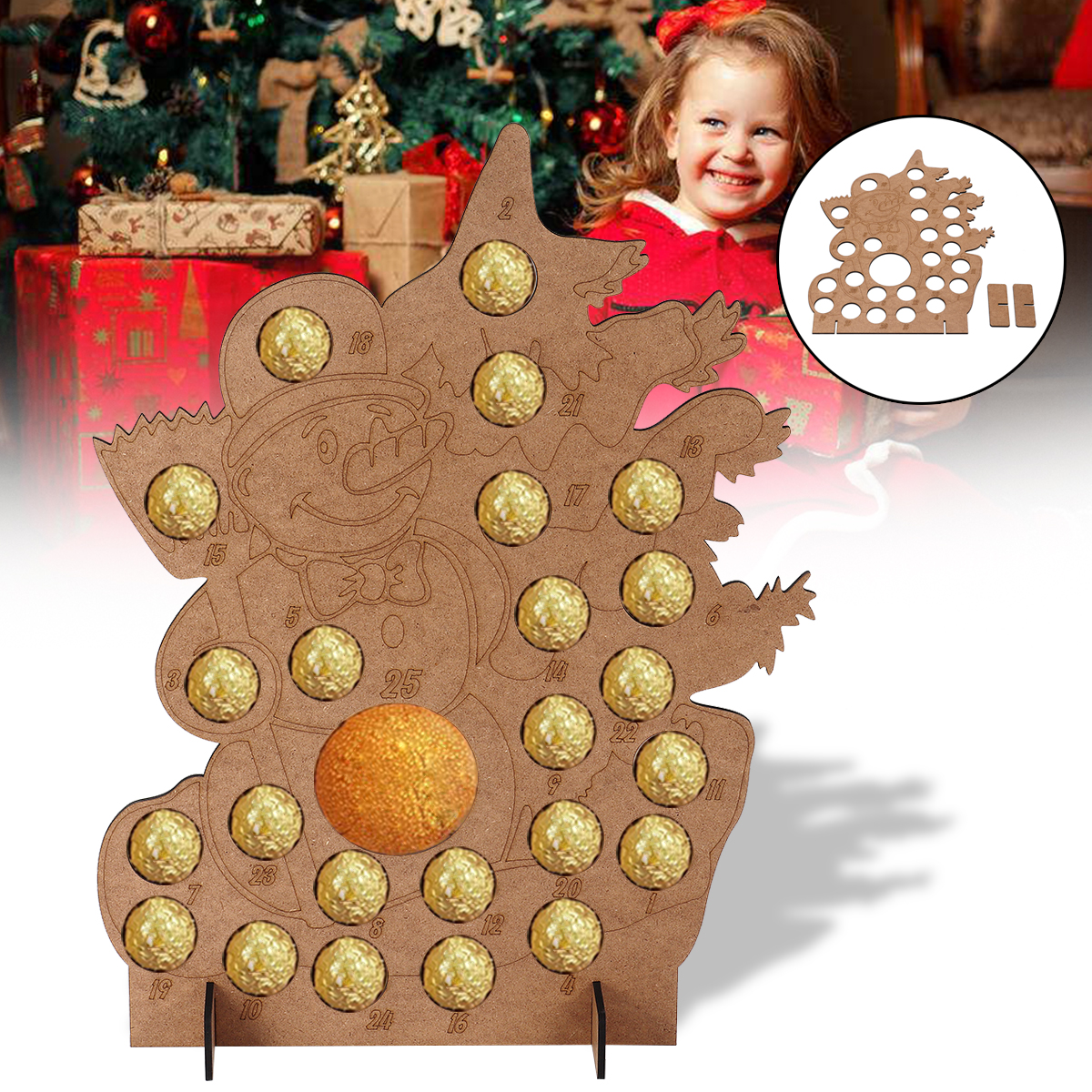 Christmas Tree Box Stand.Us 10 17 50 Off Christmas Advent Calendar Wooden Christmas Tree Home Decorations Wedding Party Chocolates Stand Storage Box Gift Display In Advent