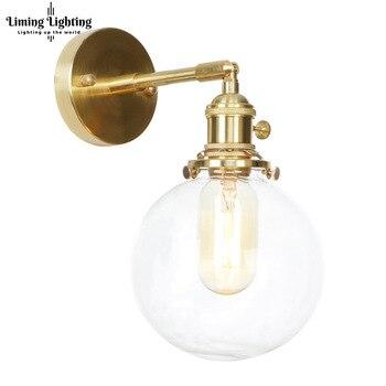 โมเดิร์นทองเหลือง LOFT Decor Nordic ทองแดงแก้วบันได LED โคมไฟติดผนังโคมไฟสำหรับห้องนั่งเล่นห้องนอน sconce