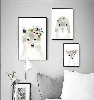 Nordic Watercolor Fluffy Fox Bear Rabbit Elk Wall Art Canvas Oil Painting Garden Decoration Girls Boys Kids Anime Poster Picture