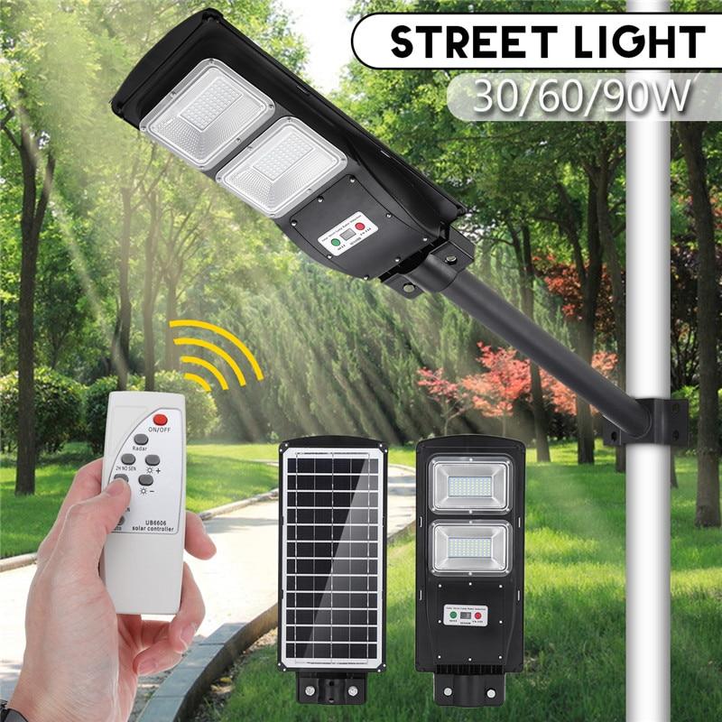 30W 60W 90W Remote Control LED Solar Street Light Radar PIR Motion Sensor Wall Timing Lamp Waterproof For Plaza Garden Yard