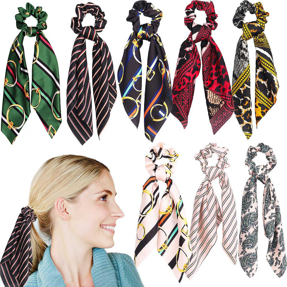1 pc Neue Mode Süß Druck Scrunchie Frauen Band Elastische Haar Band Bogen Schal Haar Gummi Haar Seile Mädchen Haar zubehör