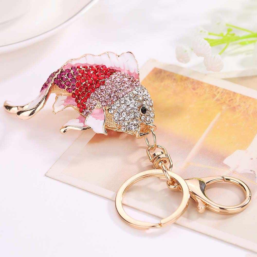 Милый Кристалл брелок в форме рыбы горный хрусталь Золотая рыбка Сумка Сумочка с застежкой Подвеска для дамской сумочки брелок ювелирный подарок