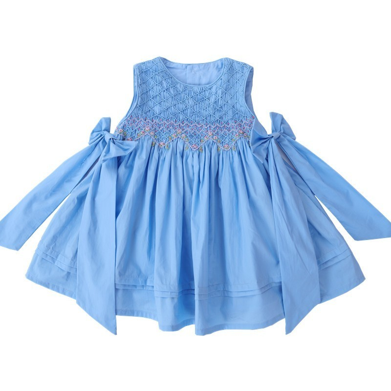 girl smocked dress summer blue embroidery flower fashion boutique clothes kids smocked dresses princess party children clothes