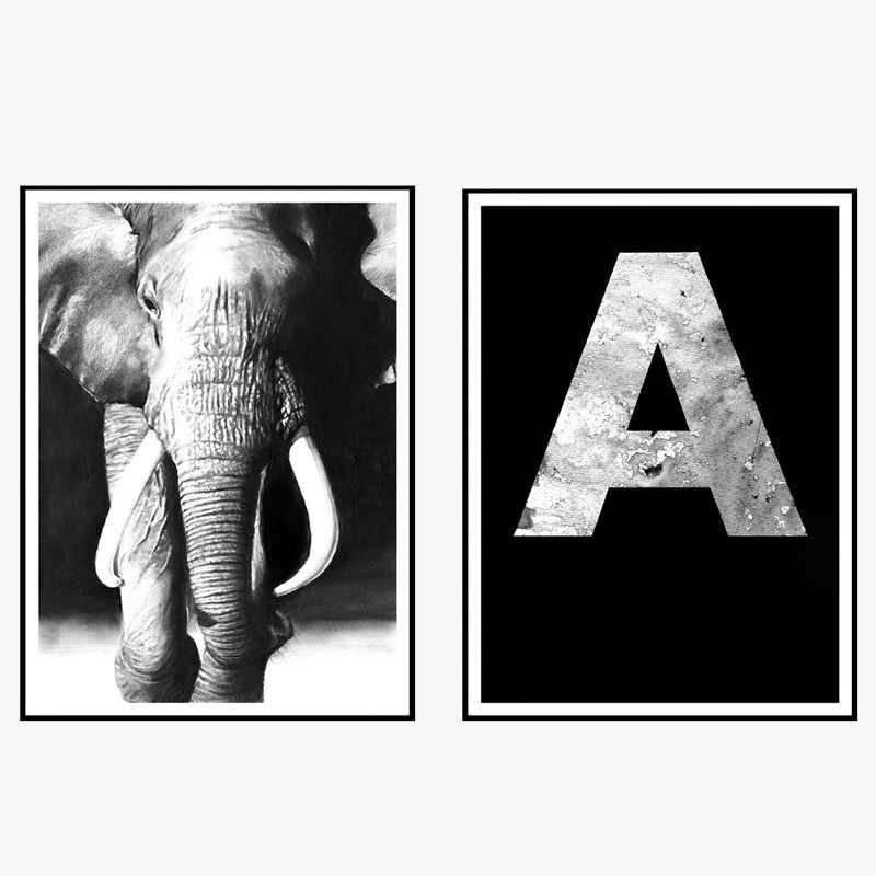 New Nordic Modern Simple Oil Painting Black and White Elephant Letter Frameless Decoration Drawing Room Canvas Wall Art Poster
