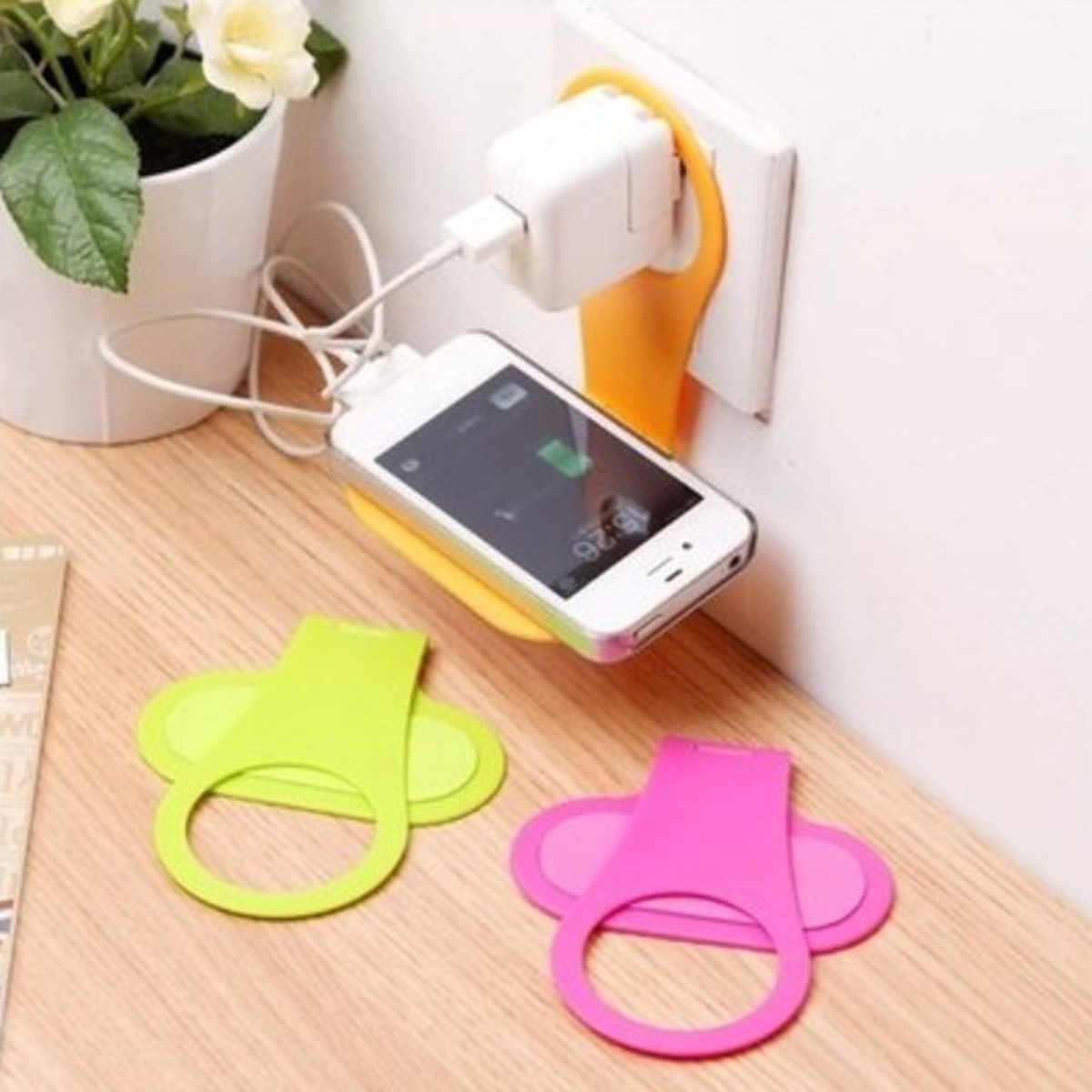 SOONHUA Portable Foldable Phone Holder For Wall Charging Support Hanger Universal Mobile Phone Holder Random Color