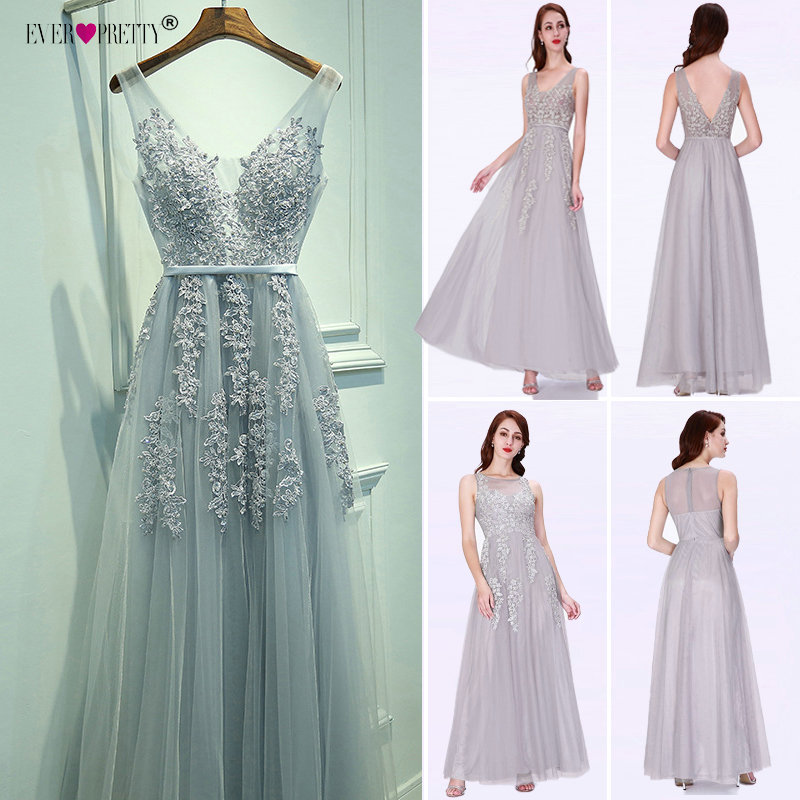 Prom     Dresses   Long 2018 Ever Pretty Elegant Long V-neck Tulle Lace Applique Sleeveless A-line Hot Selling Vestidos De Graduacion