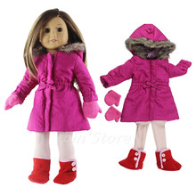 """4in1 Set Doll Clothes Outfit Coat+tights+gloves+shoes for 18"""" inch American Doll Many Style for Choice"""