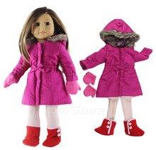 """4in1 Set Puppe Kleidung Outfit Mantel + strumpfhosen + handschuhe + schuhe für 18 """"zoll Amerikanischen Puppe Viele Stil für Wahl"""