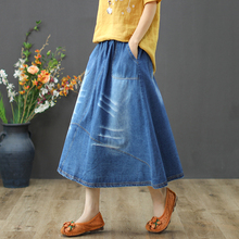 Women Skirt Denim Cotton A-Line Solid Empire Waist Pockets Mid-Calf Length Fashion Casual 2019