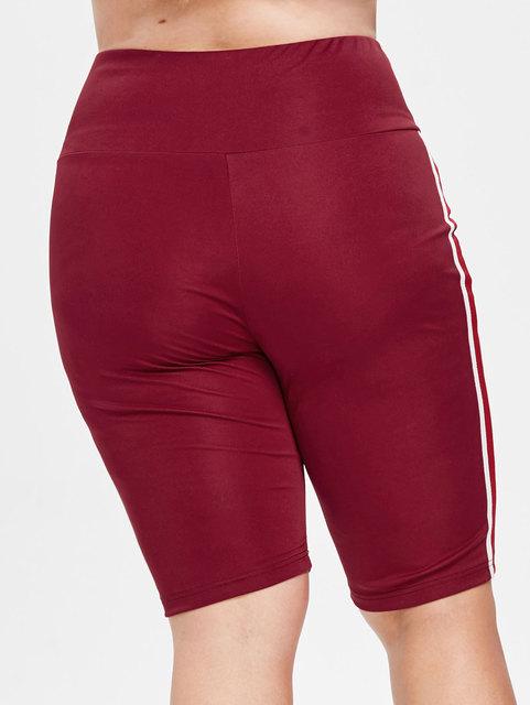 Women's Wine Red Color Plus Size Yoga Shorts  L-4XL