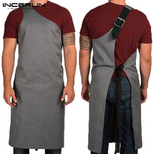 Модный фартук, регулируемый высококачественный кухонный фартук для приготовления пищи, выпечки, ресторана, унисекс, на одно плечо, полосатый фартук