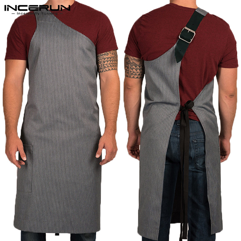 2020 Fashion Apron Adjustable High-grade Kitchen Apron For Cooking Baking Restaurant Unisex One-shoulder Strap Striped Apron