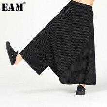 [EAM] 2020 New Musim Semi Musim Gugur Pinggang Elastis Tinggi Hitam Bergaris Dicetak Longgar Ukuran Besar Harem Celana Wanita Celana fashion JL614