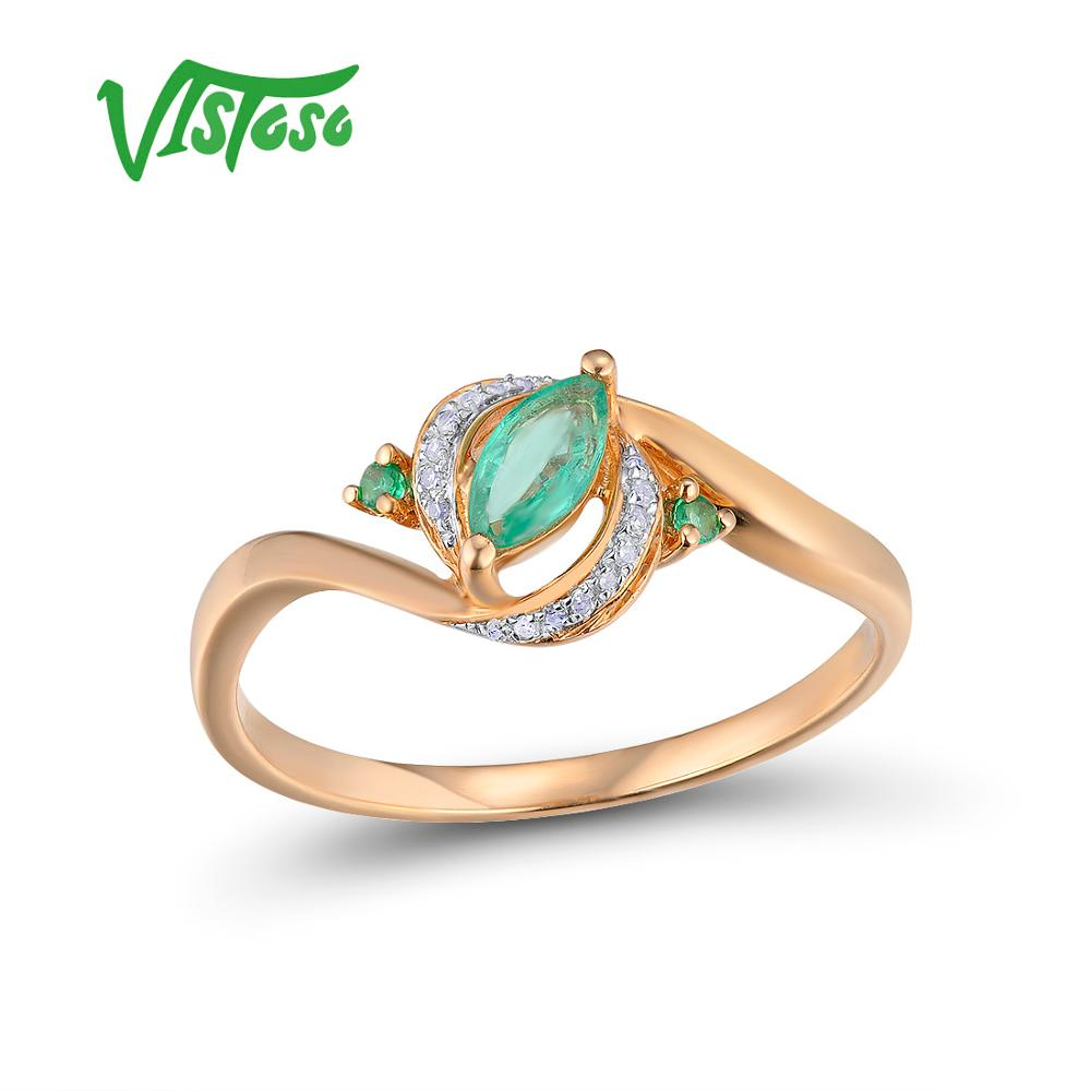VISTOSO Gold Rings For Women Genuine 14K 585 Rose Gold Ring Magic Emerald Sparkling Diamond Engagement