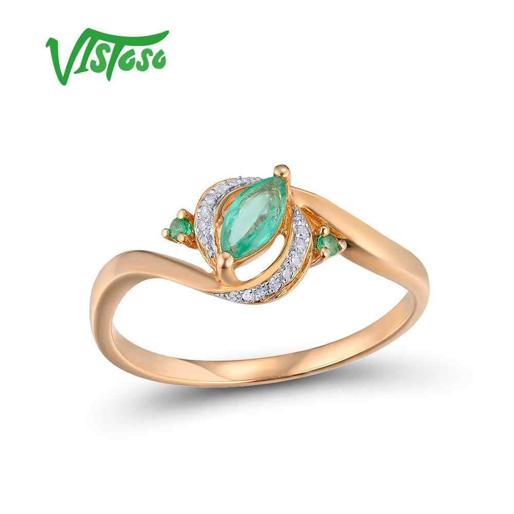 008c5af7f626 VISTOSO Gold Rings For Women Genuine 14K 585 Rose Gold Ring Magic Emerald  Sparkling Diamond Engagement