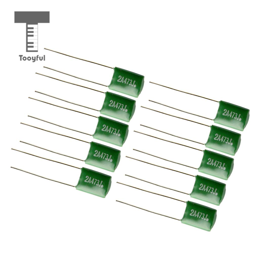 10PCS Polyester Film Guitars Capacitors Tone For Musical Instruments Guitars Bass Tone Caps Practical 0.047/2A473J Green