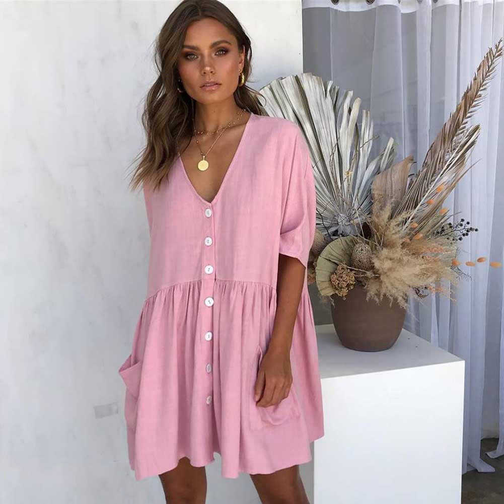 c73b66a5d86 Womens Boho Beach Summer Holiday Strappy Button V-neck Dress Elegant long  sleeve Ladies playa