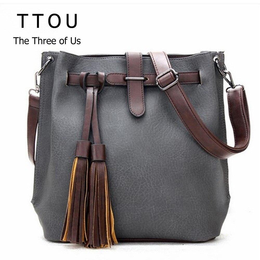 Pu Leather Shoulder Bag Women Handbags Tassel Bucket Bags Classic Messenger Bag Lady Retro Bolsas De Marca Bolsos Femeninos TTOU shoulder bag