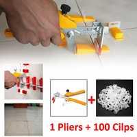 100pcs 1.5mm Tile Leveling System Clips Floor Wall Spacer Tiling Tool + 1pcs Wall Plier Floor Tiling Spacer Clip Plier Tiling