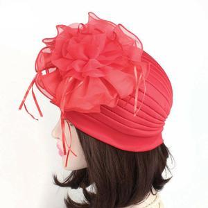Image 4 - Indian Women Muslim Retro Turban Hat Big Flower Bonnet Lace Hair Loss Head Scarf Wrap Caps Pleated Tassel Chemo Hat Beanies New