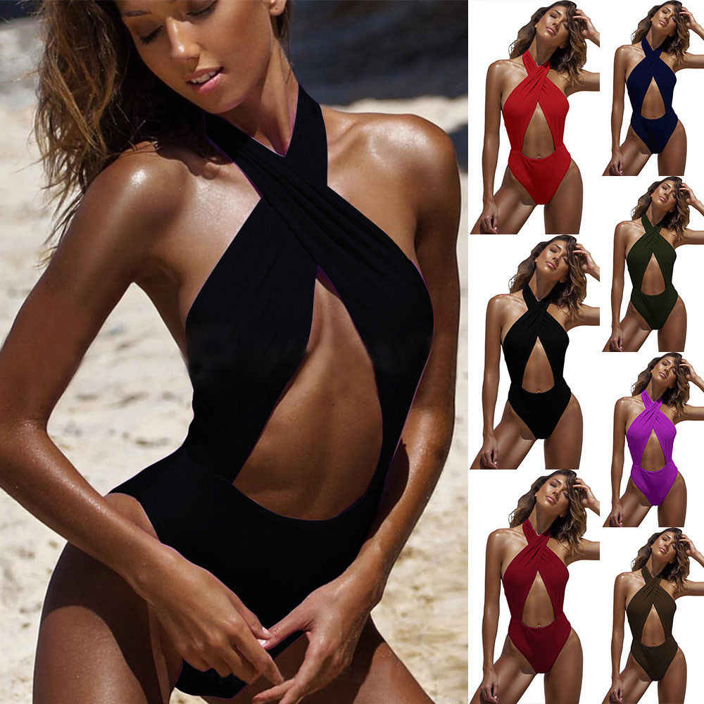 Fashion Cross-neck Sexy Women Bandage Bikini One-Piece Swimwear Monokini Beachwear Swimsuit  Bathing Suit Beach