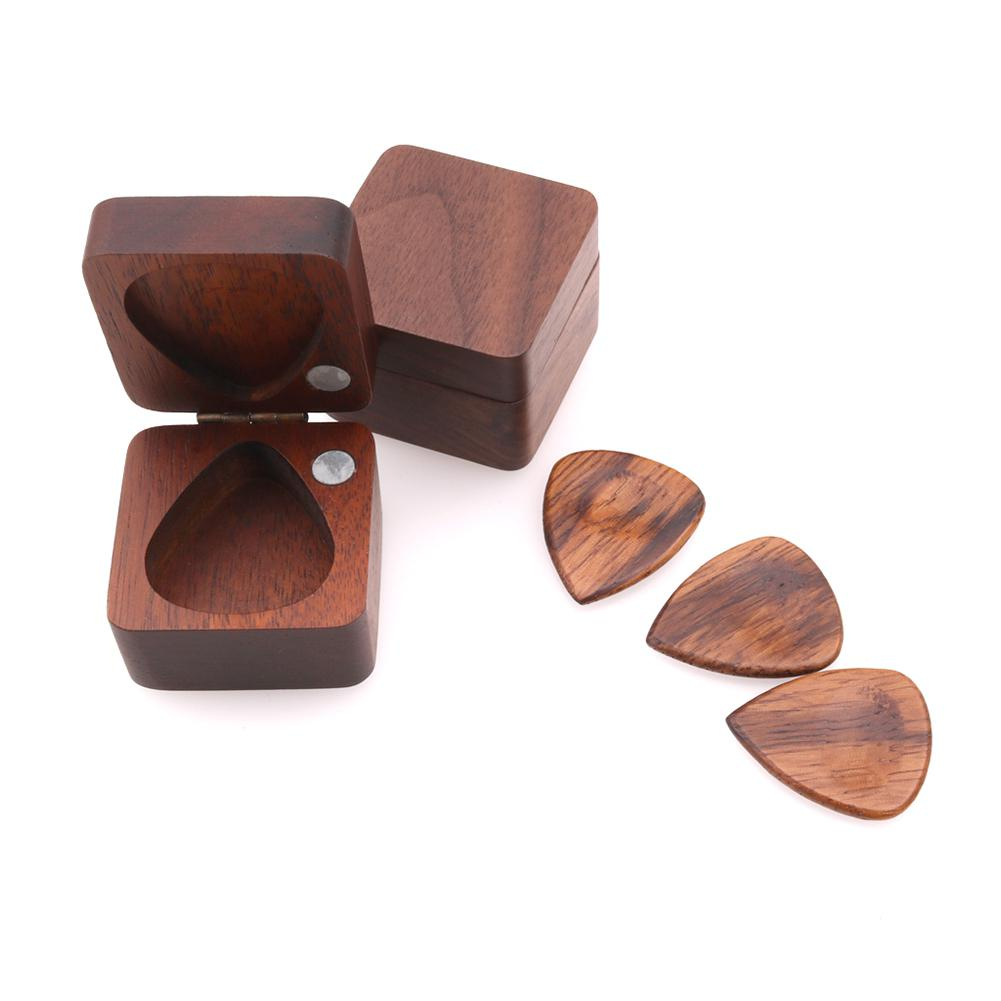 Wooden Guitar Pick Plectrum Storage Box For Picks Hold Case Care Tool Guitarra Picks Gift Guitar Accessories