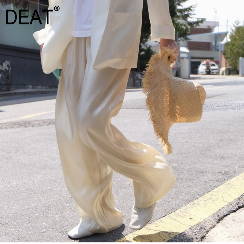 DEAT Quality Silks And Satins Slippage And Smoothness High Waist Broad-legged Trousers Floor PANTS Woman WF34106
