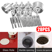 28pcs Standard Diamond Coated Hollow Drill Hole Saw Drill Bit 6-50mm for Granite Ceramic Glass Tile Drilling Power Tool Parts цены