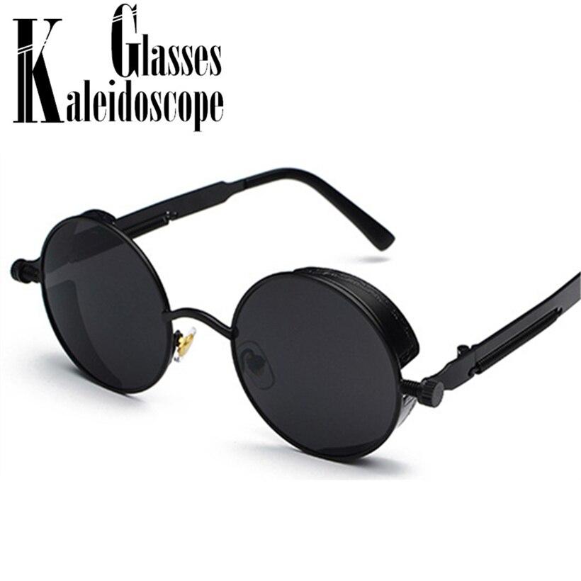 Men Round Steampunk Sunglasses Women Fashion Vintage Punk Steam Goggles Luxury Brand Designer Eyewear Retro Gasses  UV400