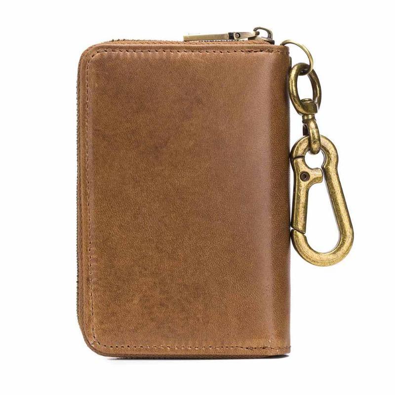 BULLCAPTAIN Original porte-clés en cuir carte portefeuille pour hommes Vintage en cuir souple voiture porte-clés porte-monnaie étui Zipper portefeuille 2019