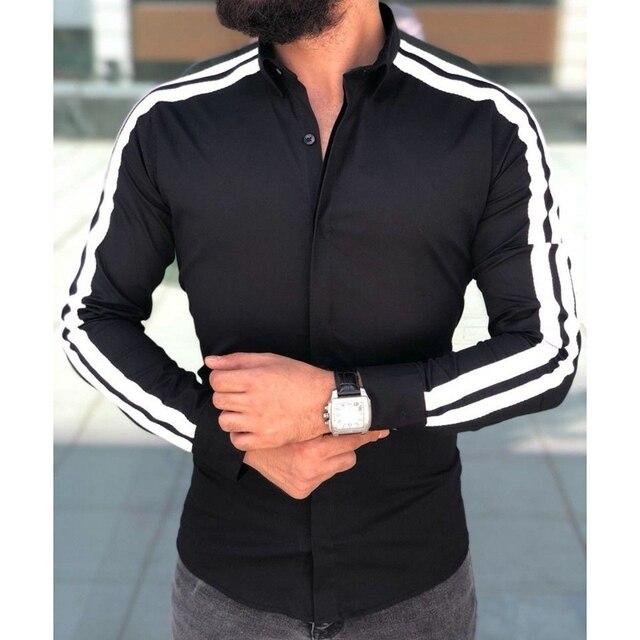Plain Formal Business Long Sleeve Slim Fit Shirt 3