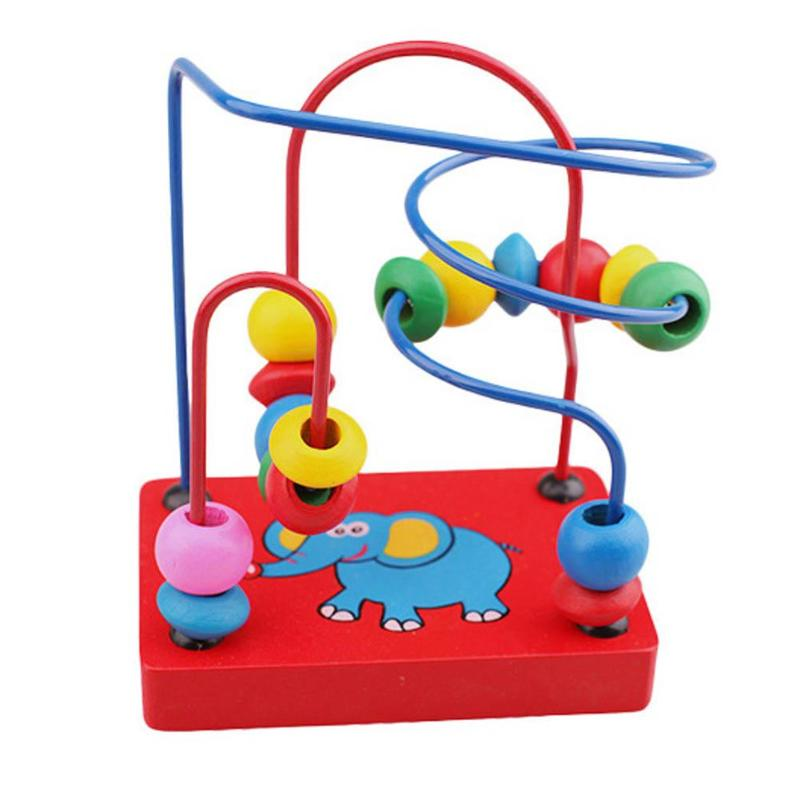 Montessori Wooden Math Toys Wooden Elephant Bead Wire Maze Roller Coaster Colorful Educational Wood Puzzles Toys For Kids