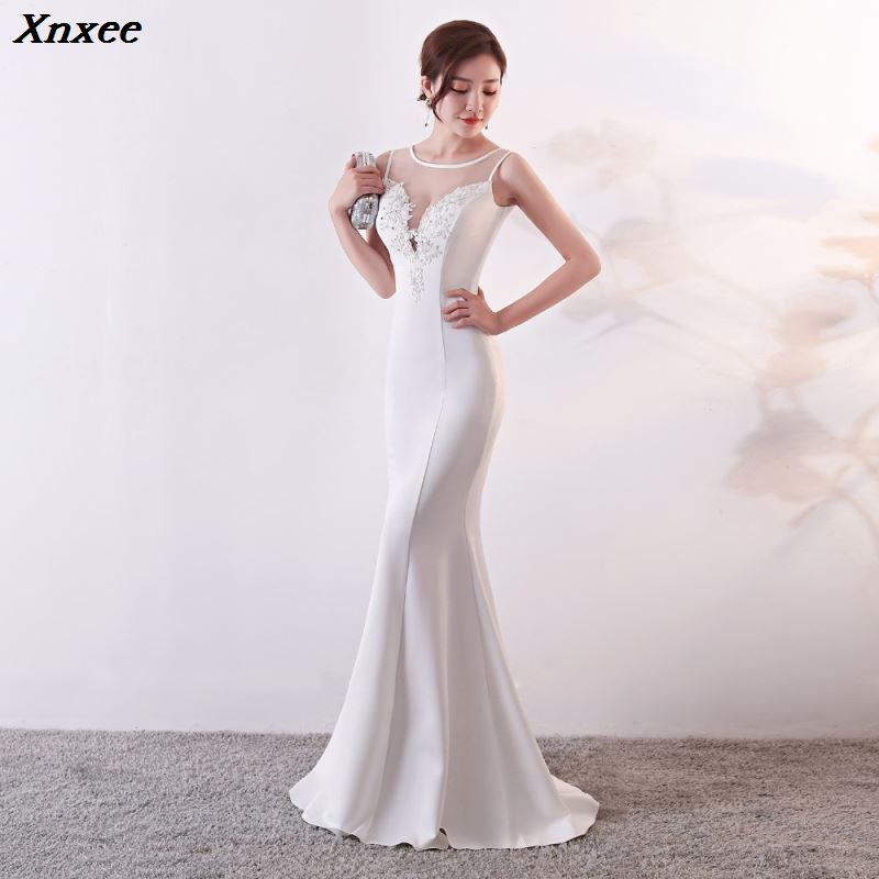 Xnxee Women Fashion Elegant White Mesh Floral Appliques Sleeveless Long Mermaid Formal Party Dress Vestido de Festa Xnxee in Dresses from Women 39 s Clothing