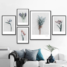 Pink Tulip Pineapple Paradise Bird Flower Wall Art Canvas Painting Nordic Posters And Prints Pictures For Living Room Decor