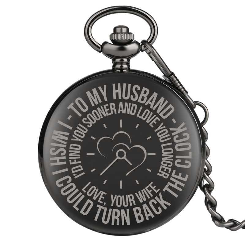 Para o meu marido gravado personalizado quartzo bolso relógio corrente presentes de aniversário para amantes e casais marido amor lembrança