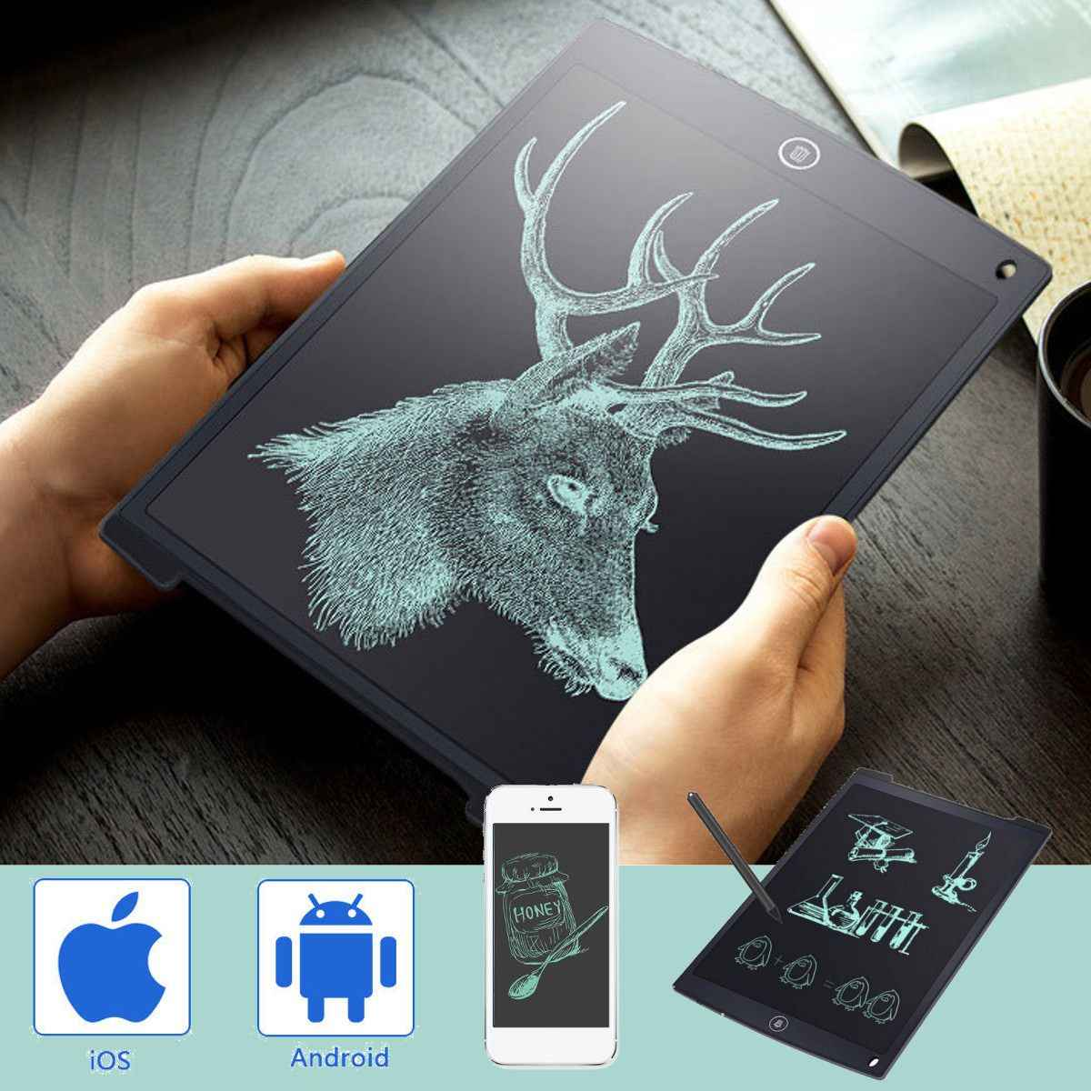 "12"" Electronic Digital Tablet LCD Handwriting Pad Tablet Drawing Graphics Painting Board Portable Notepad with Pen Black"